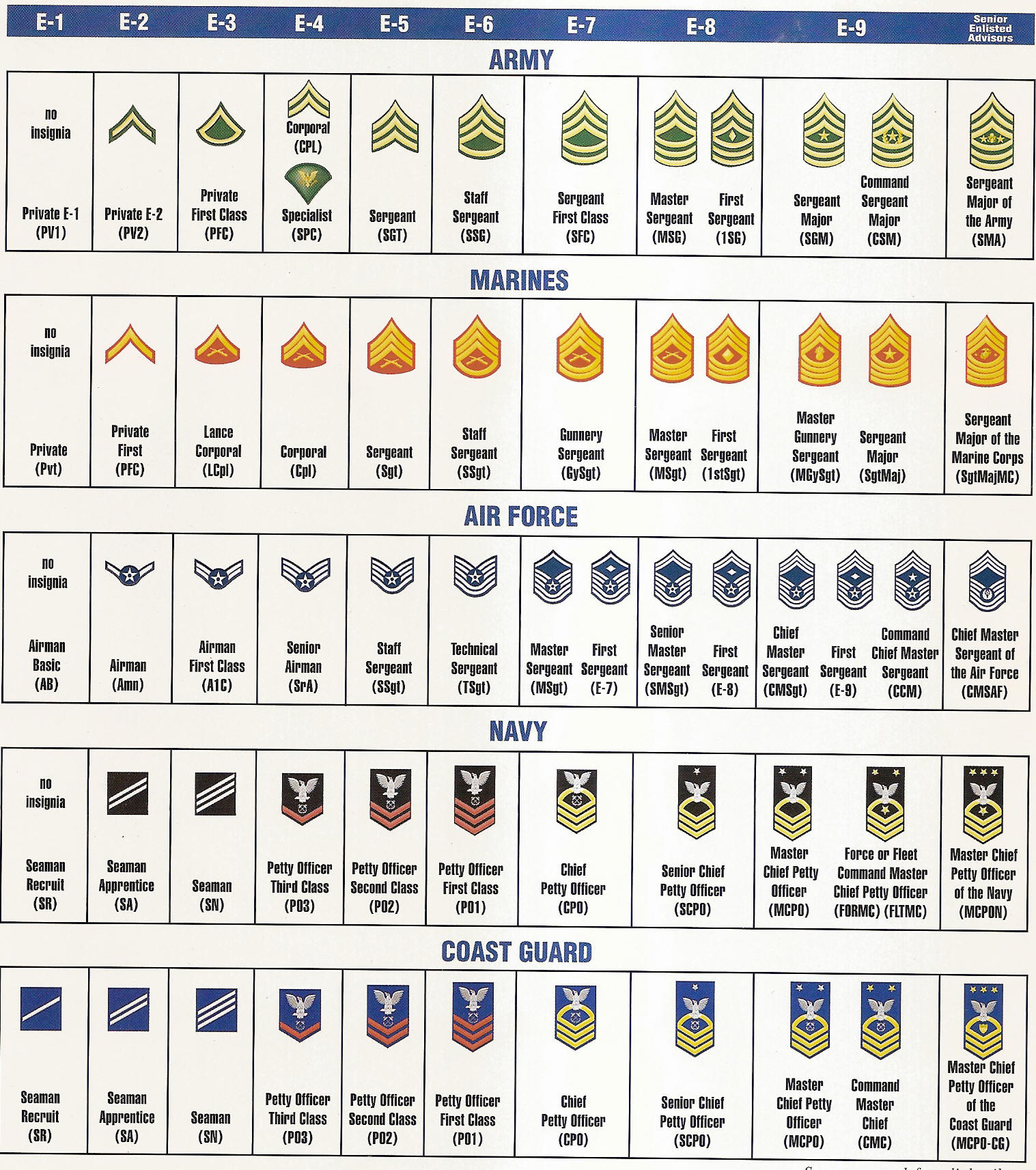 army enlisted rank structure Ranks in the canadian armed forces (caf) mark a person's position in its hierarchical structure and authority, they earn promotions in rank the formal rank structure within the caf is essential for: force ranks and badges here are the navy, army and air force ranks with classifications and acronyms.